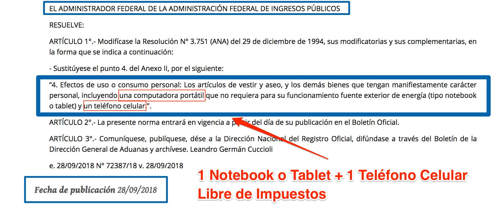Resolución de AFIP sobre Notebooks y Celulares